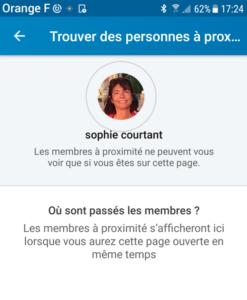 Networking avec LinkedIn-Capture d'écran par Sophie Courtant des membres à proximité sur LinkedIn