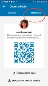 capture d'écran par Sophie Courtant mon QR code LinkedIn